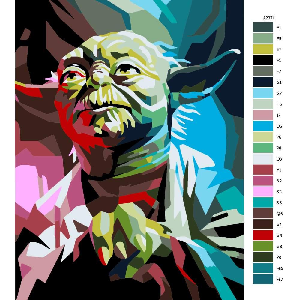 Návod pro malování podle čísel Yoda 01