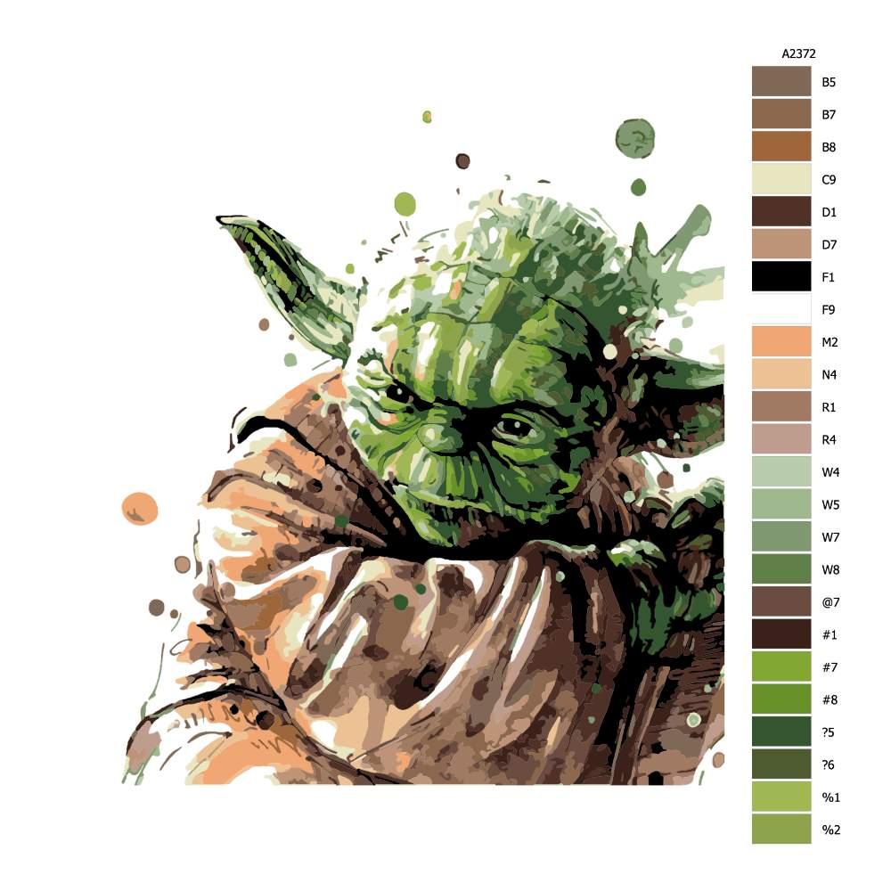 Návod pro malování podle čísel Yoda 02