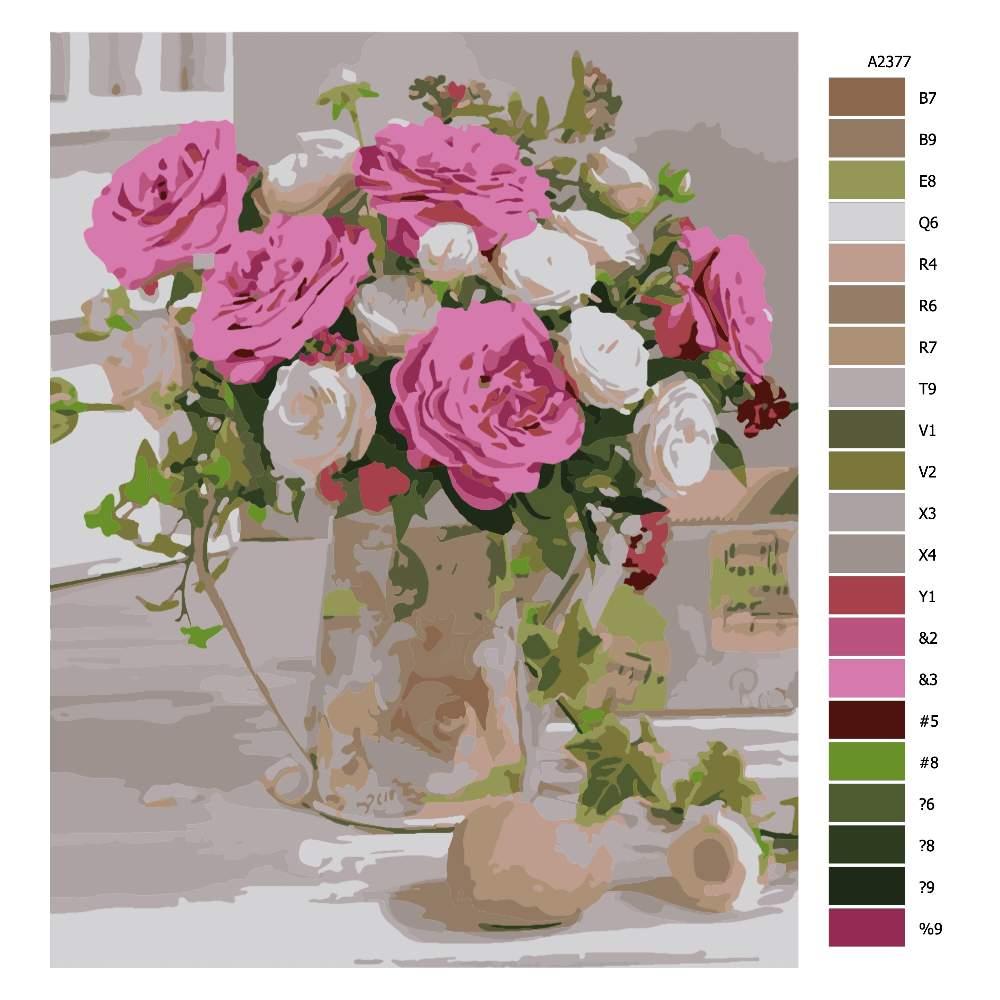 Malování podle čísel Zátiší s květinami