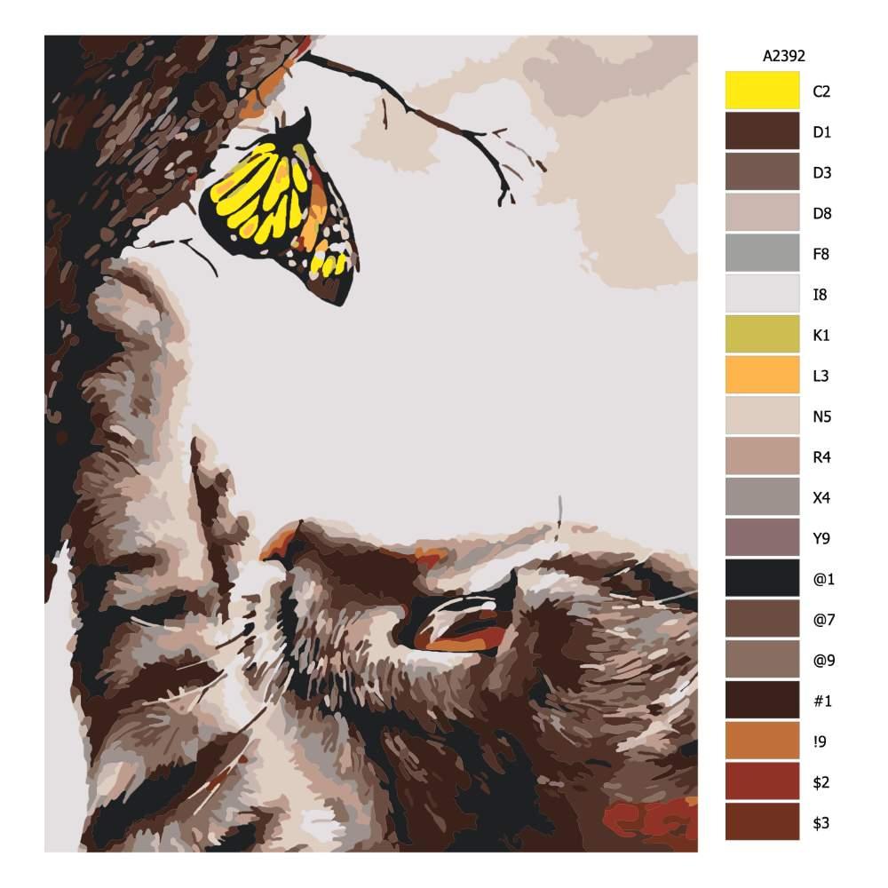 Návod pro malování podle čísel Kočka s motýlem