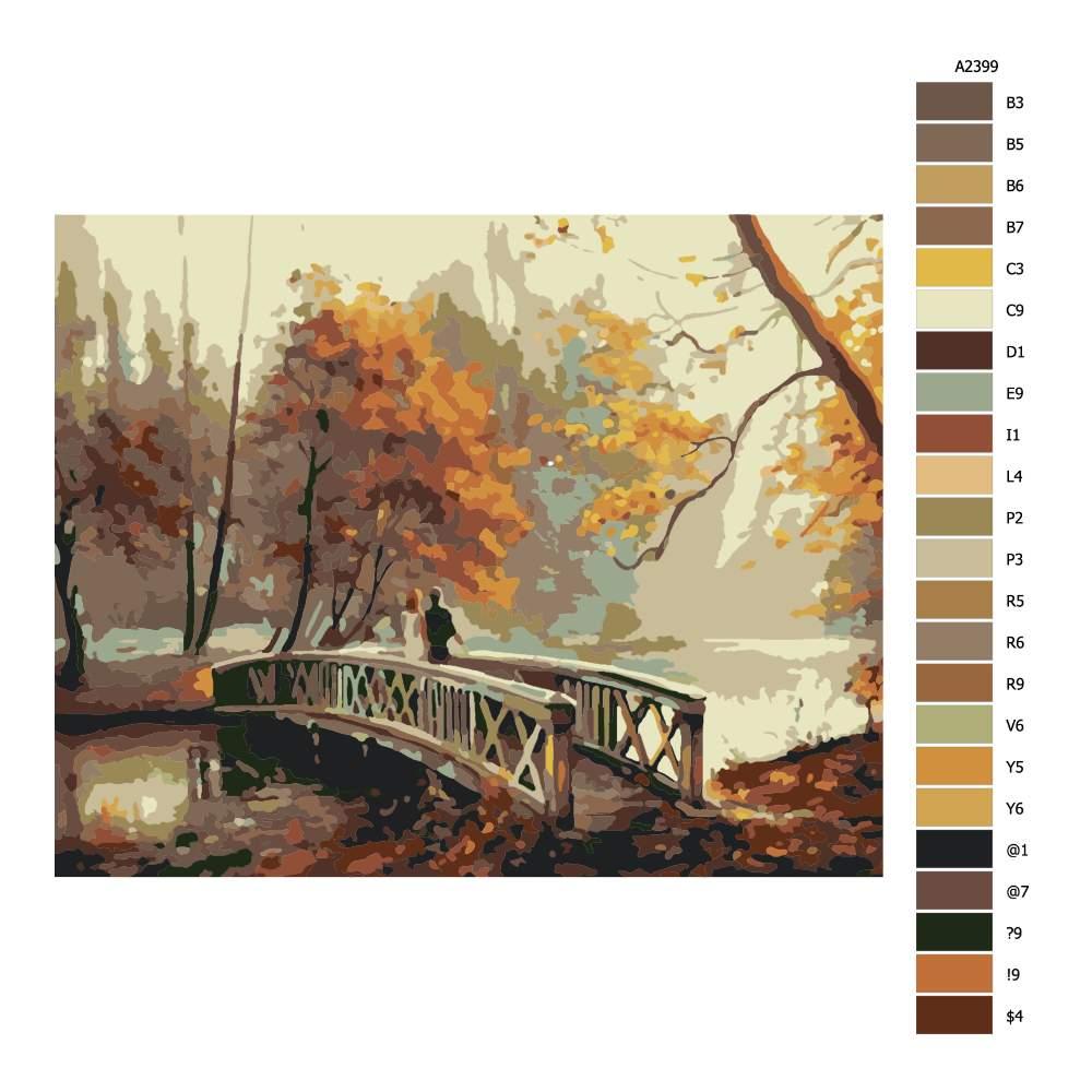 Návod pro malování podle čísel Na mostě v parku