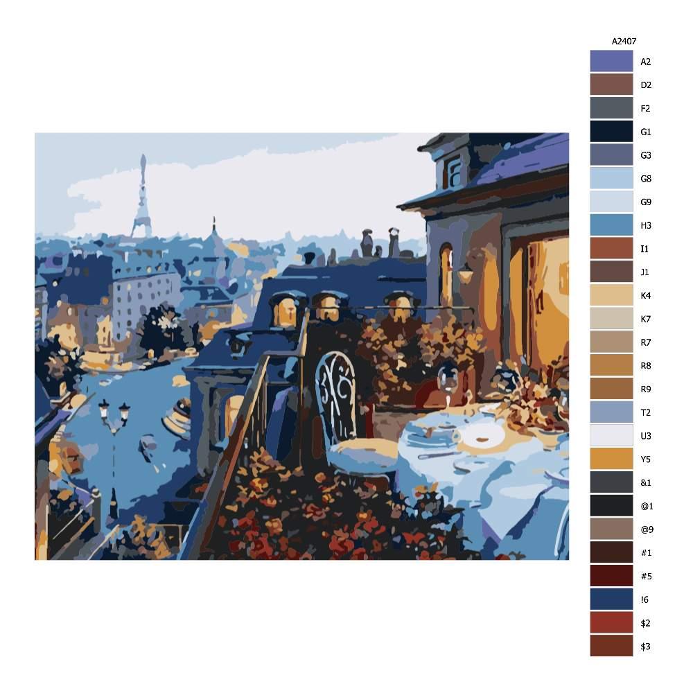 Návod pro malování podle čísel Víkend v Paříži